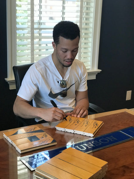Jalen Brunson Autographed Wood Shadow Box