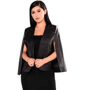 Vegan leather black cape - BLACK FRIDAY SALE  (only 2 left)