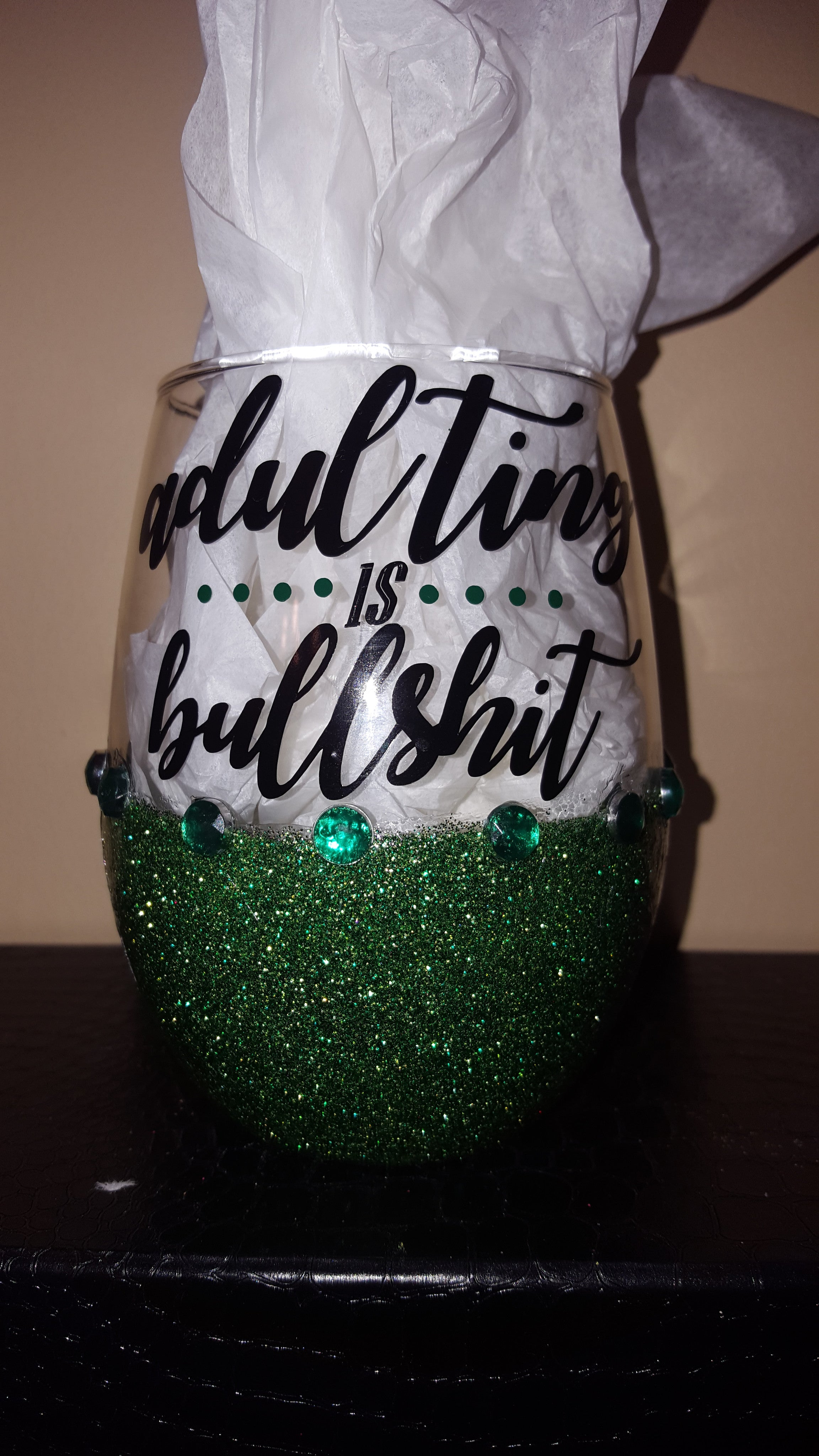 """Adulting Is Bullshit""  Candy Coated Bling StemLess Sipper"