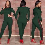 Green Ruffled Sleeve Fitted Jumpsuit - CLEARANCE