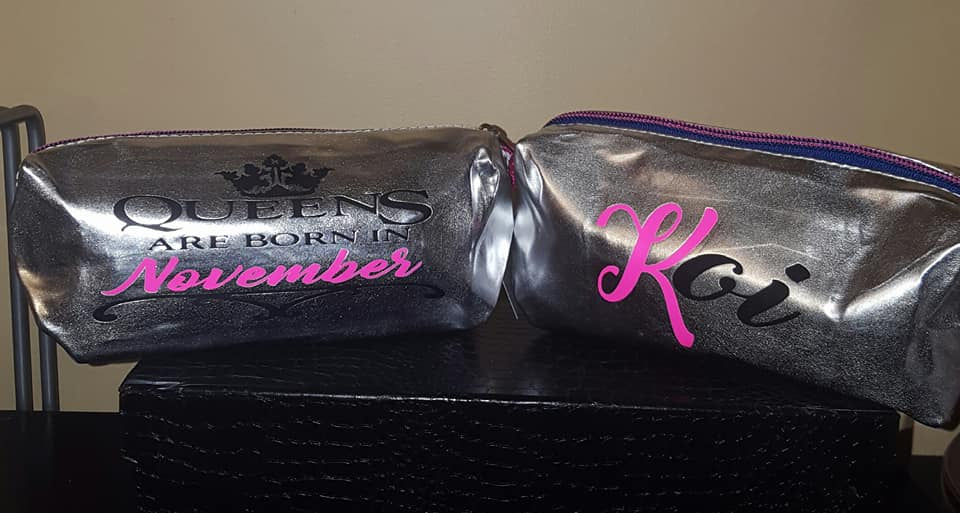 "Personalized MakeUp Bag with ""Queens are born in ""Your Birthday Month"""