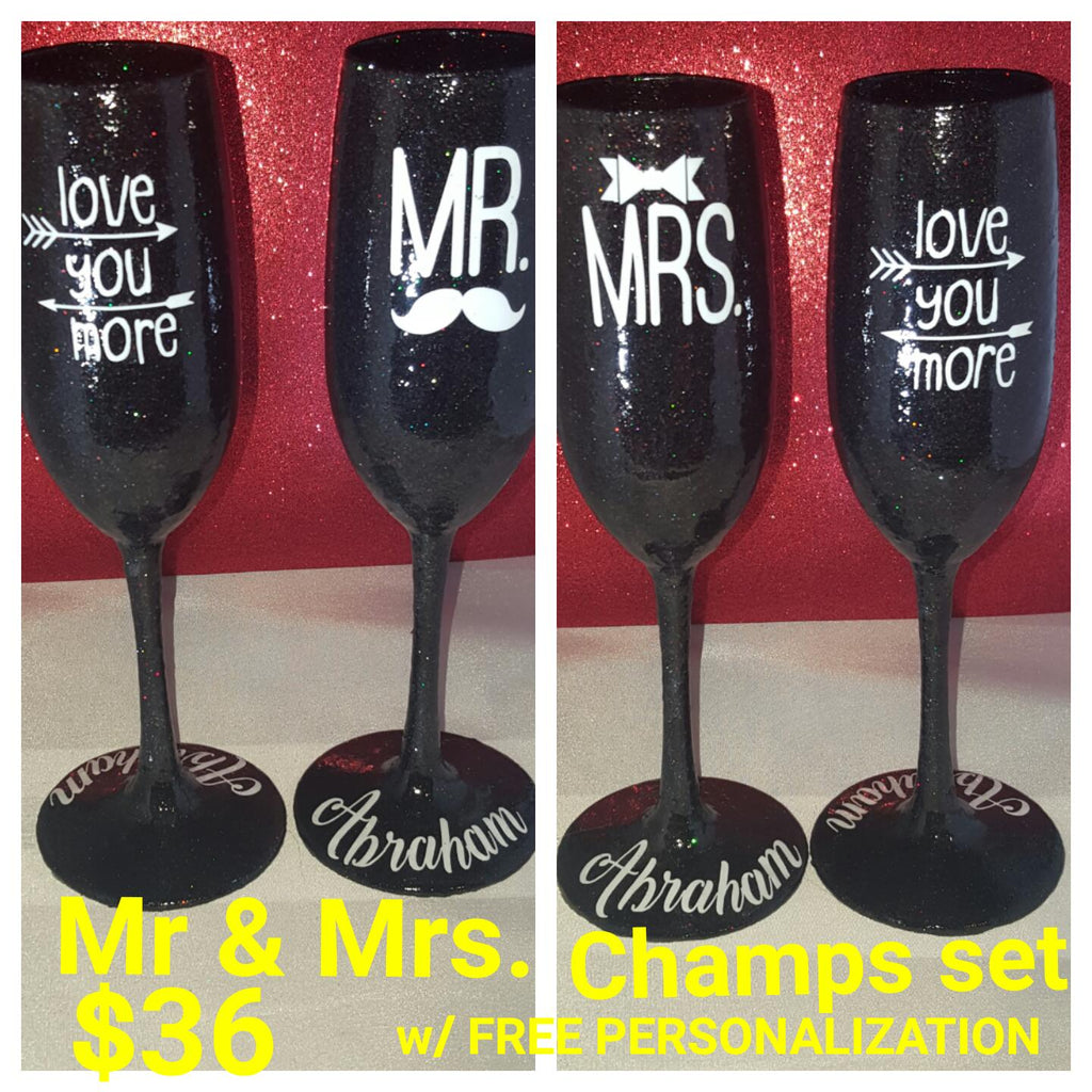 Mr. & Mrs. Candy Coated Champagne flute set w/ FREE personalization
