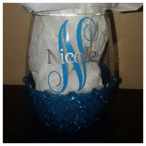 Personalized Bling Candy Coated StemLess Sipper