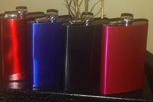 """Slick Flask"" with Vinyl Initial (8oz) Stainless Steel"