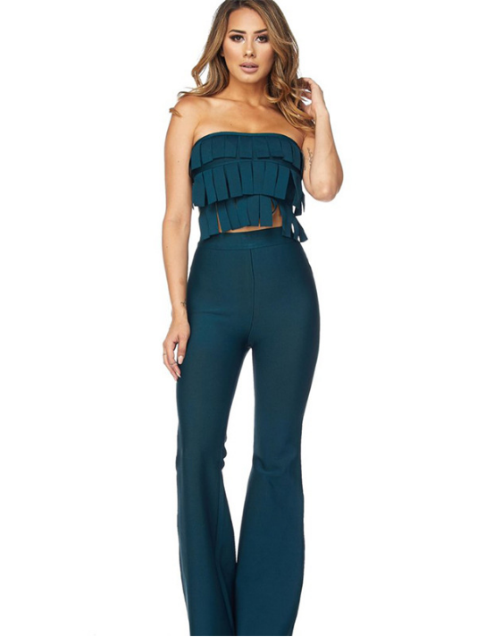 Strip Strapless Two Piece Pants Set (only 2 left) - CLEARANCE
