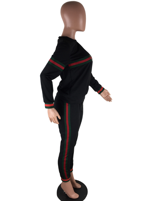 2 Piece Black Sweat Suit w/ Green & Red Stripe -CLEARANCE
