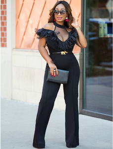 Black Off Shoulder Ruffled Sexy Wide Leg Jumpsuit
