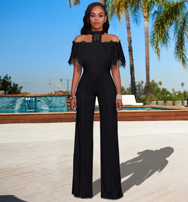 T~Neck Lace Off The Shoulder Wide Leg Jumpsuit