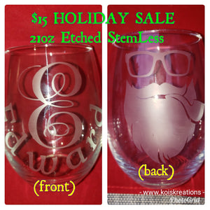 "Etch'd ""Motto"" Personalized StemLess Sipper"