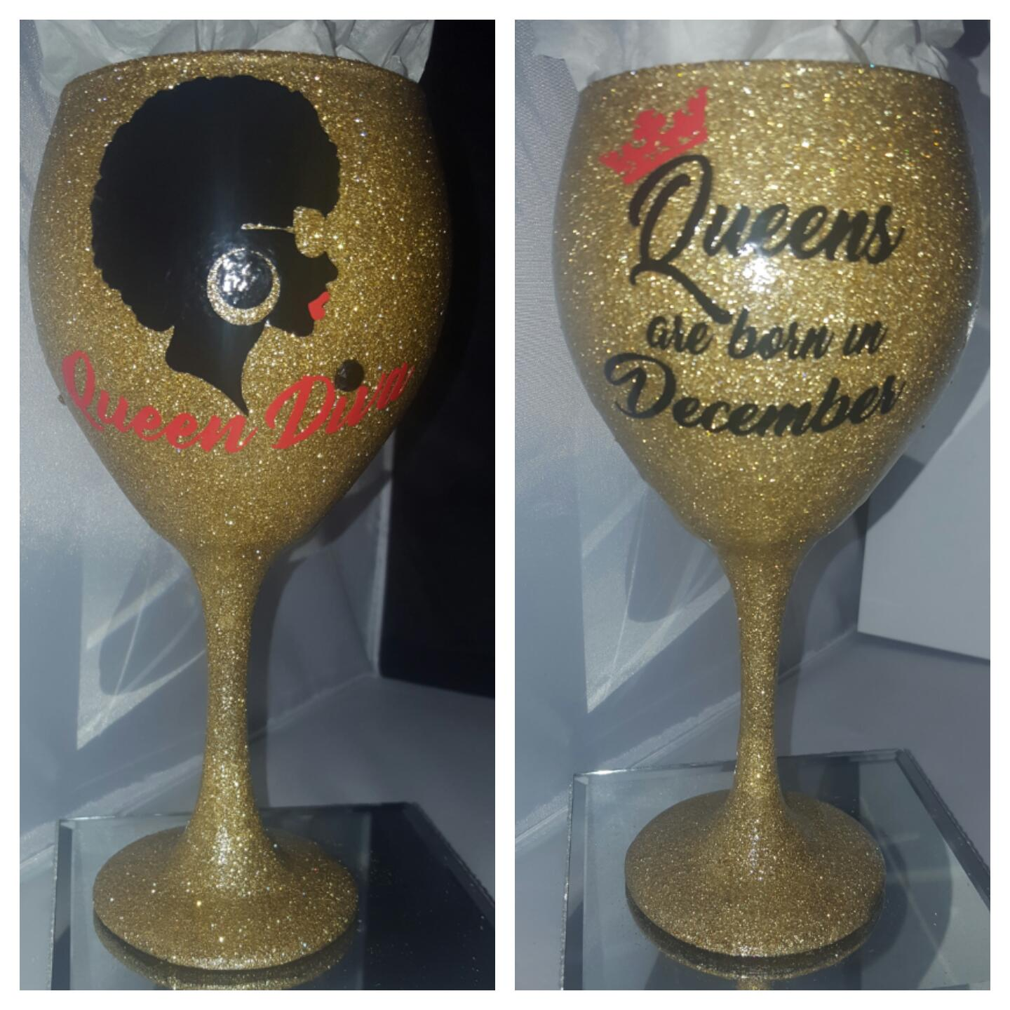 """Queen  Diva"" Personalized Candy Coated Goblett (22oz) -"