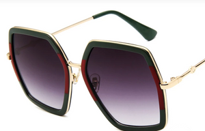 Flag Green & Red Square OR Leopard Oversized Square Metalized Sunglasses - SALE