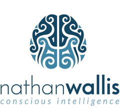 Nathan Wallis Logo with blue image of styled brain
