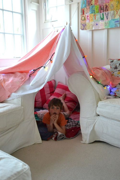 indoor hut made out of sheets