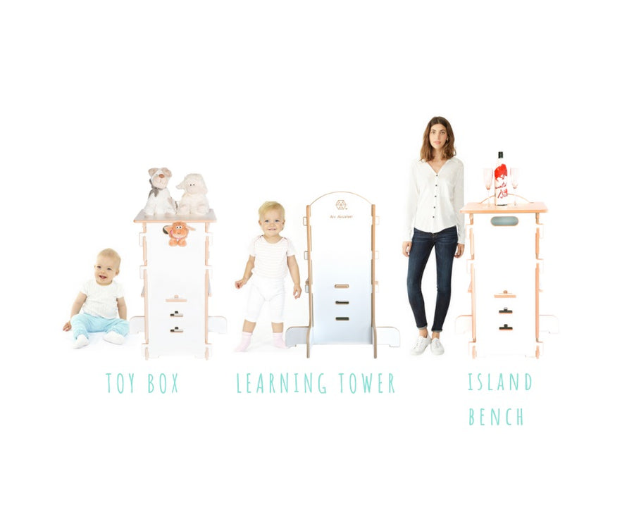 ARC ASSISTANT 3 IN 1. Learning Tower + Toy Box + Island Bench