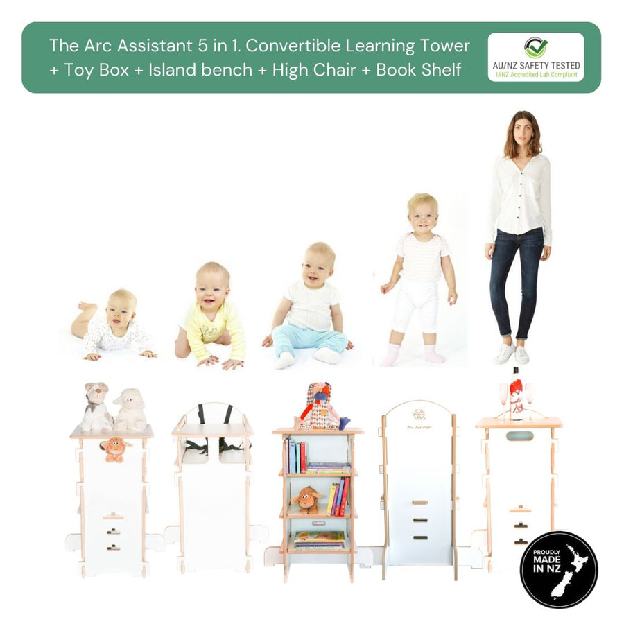 Learning Tower, toy box, book shelf, images with baby crawling. The arc assistant 5 in 1