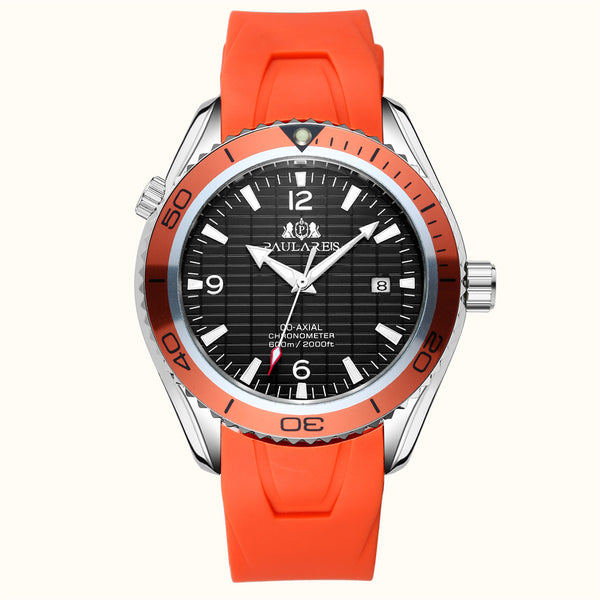 PAULAREIS P Automatic Self Wind Mechanical Orange Blue Black Rubber Strap Bezel Dial James Bond 007 Style Business Calendar Men Wristwatch