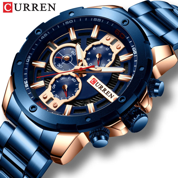 CURREN Wristwatches Men Stainless Steel Band Quartz Wristwatch Military Chronograph  Male Fashion Sporty Wristwatch Waterproof 8336