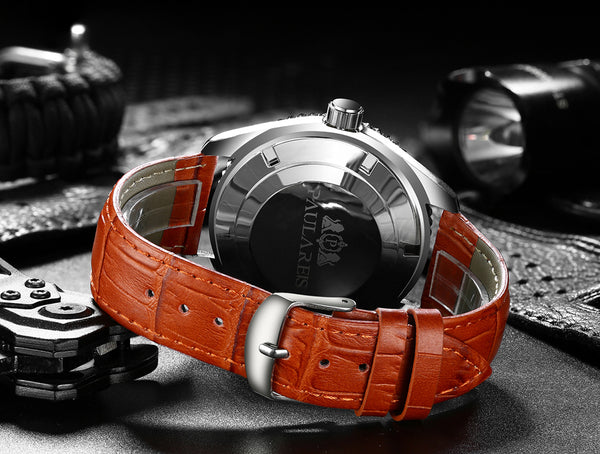 PAULAREIS P Automatic Self Wind Mechanical Orange Blue Black Leather Stainless Steel Rubber Simple James Bond 007 Style Business Men Wristwatch