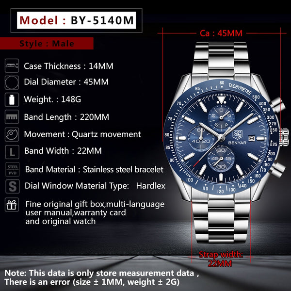 BENYAR  Men Wristwatches To Luxury Brand Business Steel Quartz Wristwatch Casual Waterproof Male Wristwatch