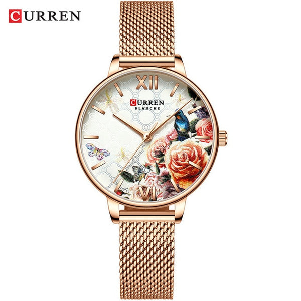 CURREN Women Wristwatches Women Fashion Wristwatch  Designer Ladies Wristwatch Luxury Diamond Quartz RoseGold Wrist Wristwatch Gifts For Women