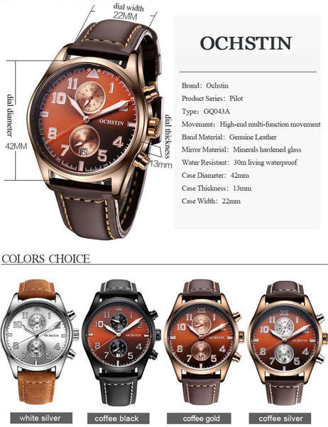 OCHSTIN Man Wristwatch Top Luxury Brand Chronograph Calendar Sport Male Military Army Genuine Leather Men Quartz Wristwatch 043