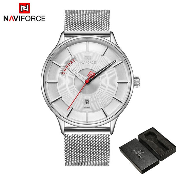 NAVIFORCE Men Wristwatch Sport Military Waterproof Man Wristwatch Army Business Calendar Mesh Stainless Steel Quartz Male  3007