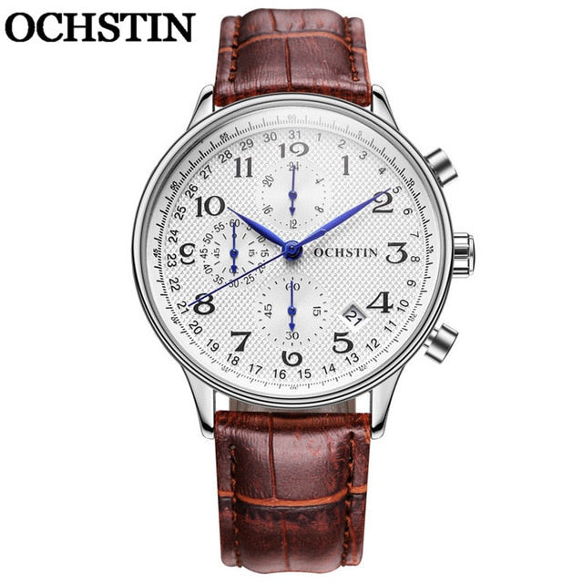 OCHSTIN Male Top Luxury Brand Chronograph Calendar Genuine Leather Men Quartz Wristwatch Military Army Sport Man Wristwatch 050
