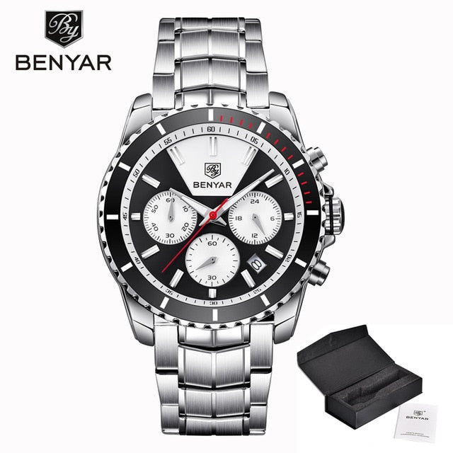 Man Wristwatch  New BENYAR Mens Wristwatches top Brand Luxury Quartz Wristwatch Mens Chronograph Business Men