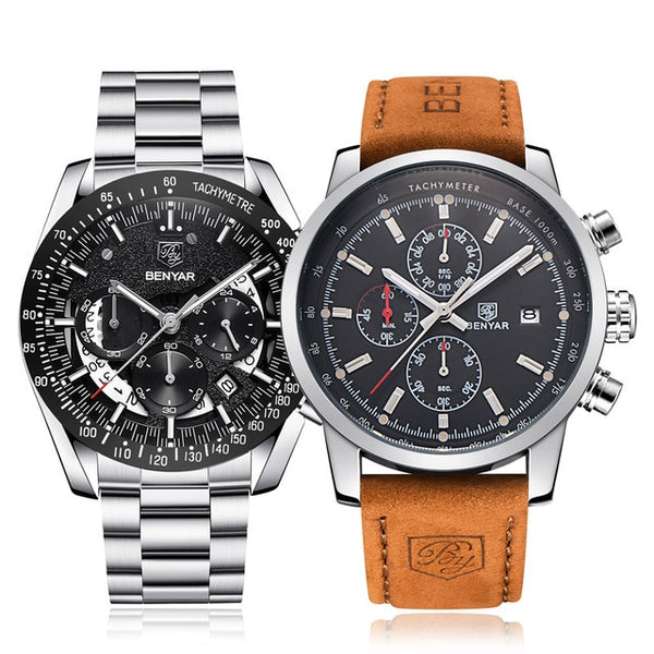 Wristwatch Mens Set BENYAR Wristwatches Mens  Top Brand Luxury Quartz Chronograph Fashion Sports Wristwatch Man Men