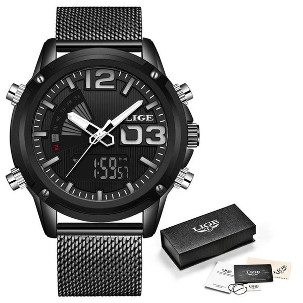 LIGE Analog Digital Men Wristwatches Top Luxury Brand Stainless Steel Sport Wristwatches Men Fashion Waterproof Wrist Wristwatch Male +Box