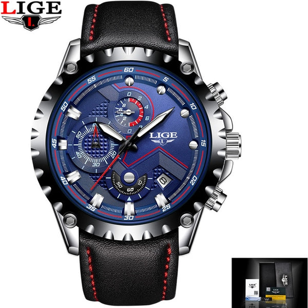 Top Brand Luxury Men Wristwatches LIGE Military Analog Male Quartz Men Sport Wristwatch  Waterproof Wristwatch