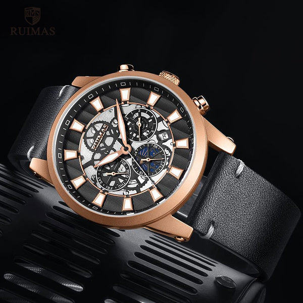 RUIMAS Luxury Casual Automatic Wristwatches Men Top Brand Genuine Leather Strap Mechanical Wristwatch 6768G