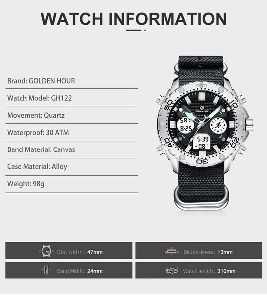 GOLDENHOUR Fashion Outdoor Sports Men Watch Army Military Canvas Analog Digital Wristwatch Dual Display Silver Case Male