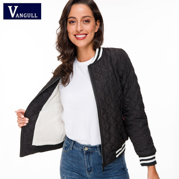 Vangull Jacket women 2019 New Spring Autumn Winter velvet lamb Coat Woman basic Parkas Outerwear Down jackets Female Clothings