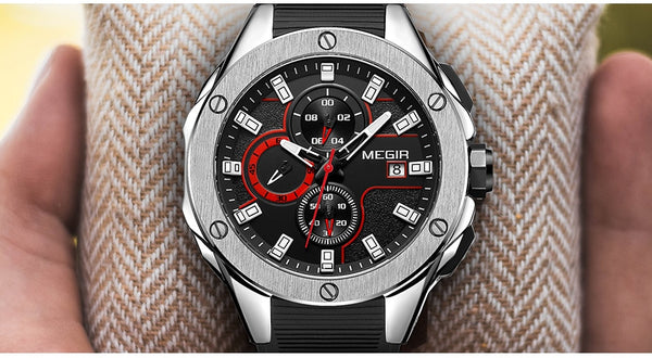 MEGIR Men Sport Wristwatch Chronograph Silicone Strap Quartz Army Military Wristwatches Men Top Brand Luxury Male