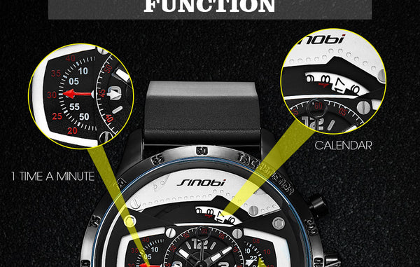 Relojes Hombre SINOBI Car Creative Men Watch Mens Fashion Speed Racing Sport Time Chronograph Silicone Watches Quartz Wristwatch