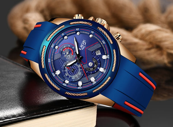 LIGE Casual Sport Wristwatches for Men Blue Top Brand Luxury Military Waterproof Wrist Wristwatch Man Fashion Chronograph Wristwatch