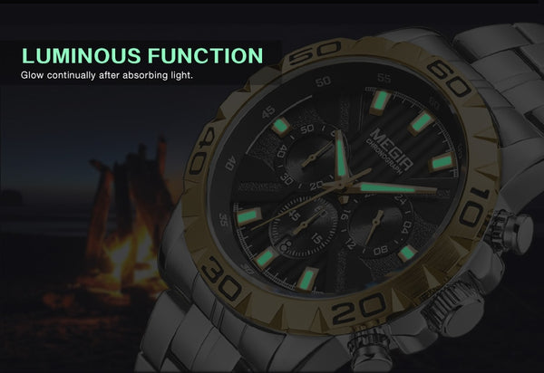 New MEGIR Wristwatch Men Chronograph Quartz Business Mens Wristwatches Top Brand Luxury Waterproof Wrist Wristwatch Reloj Hombre Saat