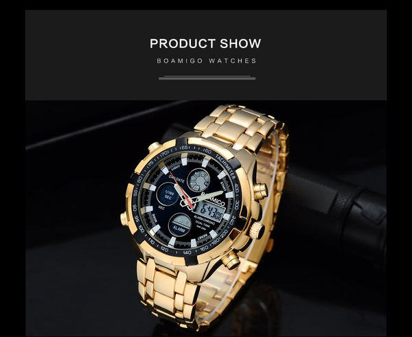 BOAMIGO Brand Wristwatches Military Men Sport Wristwatches Auto Date chronograph gold Steel Digital Quartz Wristwatches