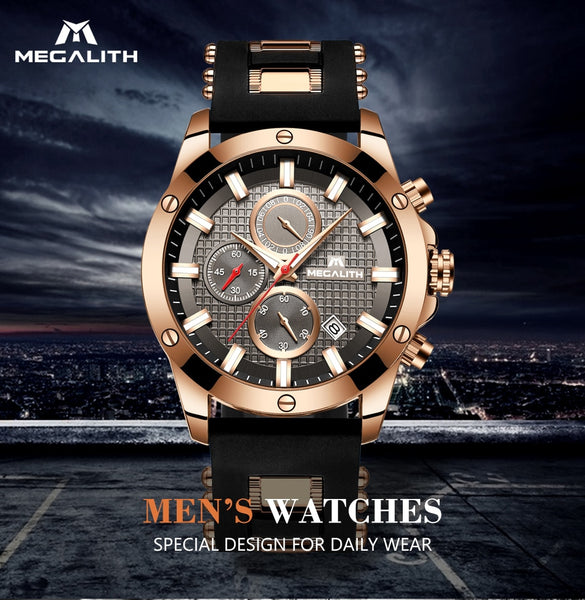 MEGALITH Fashion Chronograph Men Watches Date Silicone Strap Sports Quartz Watch Men Luminous Waterproof  Relogio Masculino