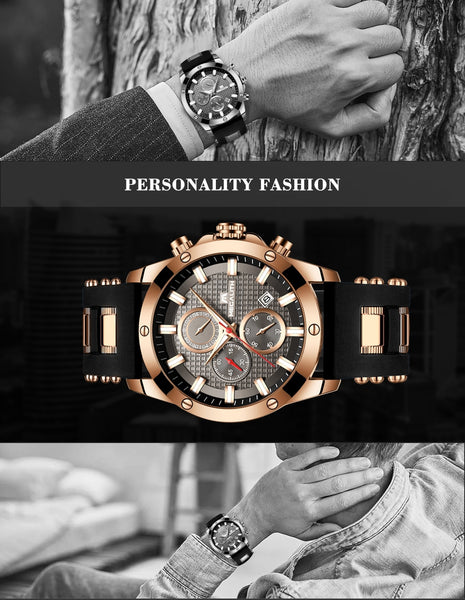MEGALITH Fashion Chronograph Men Wristwatches Date Silicone Strap Sports Quartz Wristwatch Men Luminous Waterproof