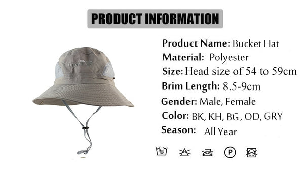 New UPF 50+ Summer Sun Hat Bucket Men Women Boonie Hat Outdoor UV Protection Long Wide Brim Army Hiking Fishing Mesh Breathable