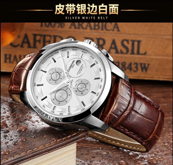 Automatic mechanical switzerland brand men wristwatches fashion luxury leather strap watch waterproof 100M clock relogio reloj