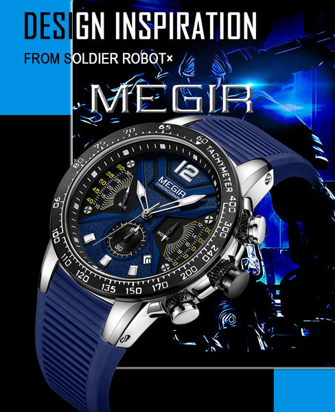 MEGIR Men Wristwatches Silicone Sport Chronograph Quartz Military Wristwatch Luxury Brand Zegarek Meski Erkek Kol Saati
