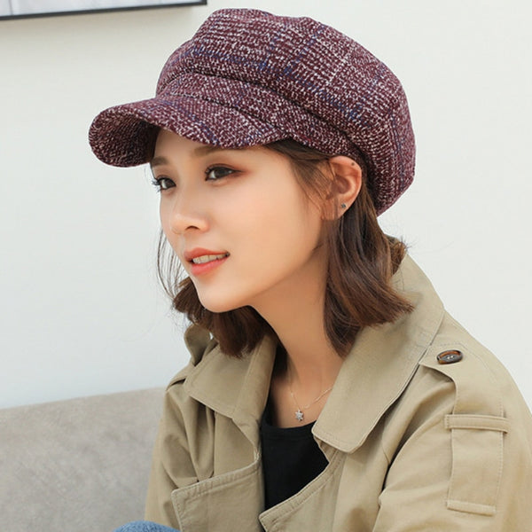 Aerlxemrbrae Brand Women Wool Caps High Quality Autumn Winter Hat Thick Warm Unisex stylish Retro Plaid Beret