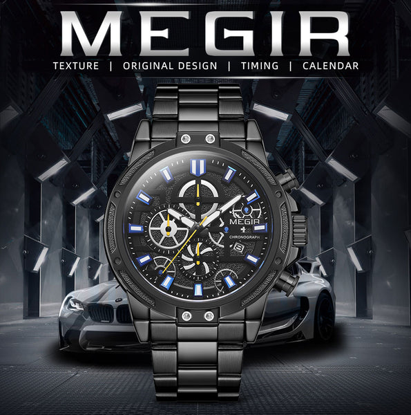 MEGIR  Men's Business Quartz Wristwatches Army Sports Chronograph Wristwatch Man Top Brand Luxury Relogios Masculinos 2108 Black