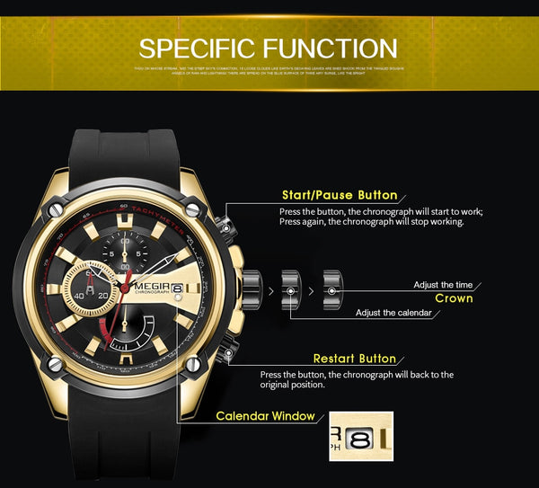 MEGIR Chronograph Men Sport Wristwatch Male Silicone Automatic Date Quartz Wristwatches Mens Luxury Brand Waterproof