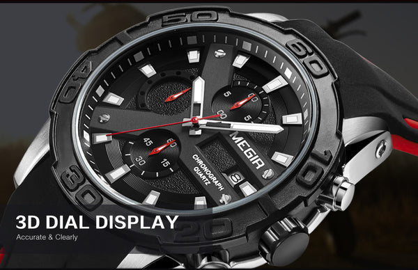 MEGIR Chronograph Sport Wristwatch Men  Top Brand Fashion Silicone Quartz Army Military Wrist Wristwatches Men 2055