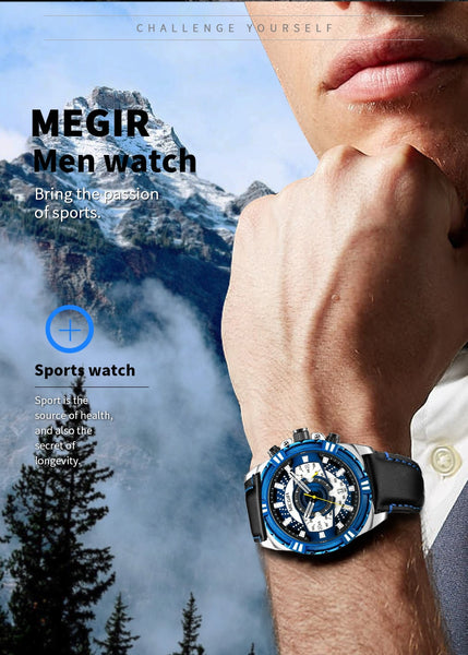 MEGIR Mens Wristwatches Top Brand Luxury Quartz Wristwatch Men Causal Waterproof Chronograph Sport Wristwatch  Erkek Kol Saati