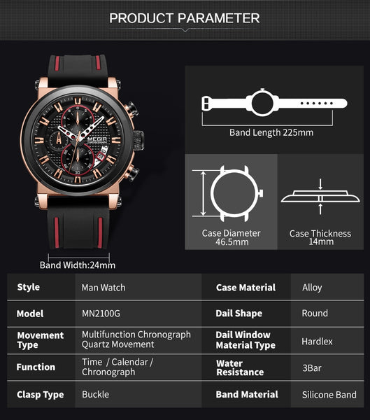 MEGIR Luxury Brand Quartz Wristwatch for Men Big Dial Sport Men Wristwatches Chronograph Wrist Wristwatch Man Kol Saat Jam Tangan Pria Dropship